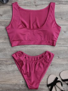 Padded U Neck Bathing Suit - Rose Madder