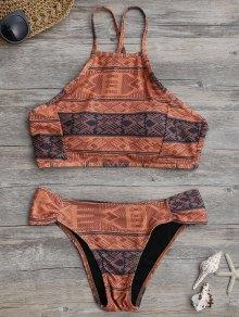 High Neck Aztec Print Bikini Set - Laterite