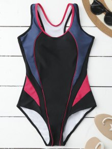 Tricolor Sporty One Piece Swimsuit - Black And Rose Red M