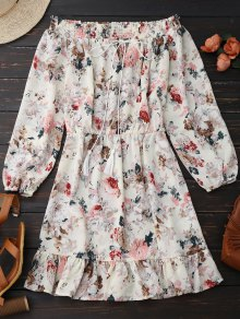 Floral Off Shoulder Tie Front Holiday Dress