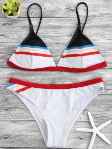 Striped Spaghetti Straps Padded Bikini Set