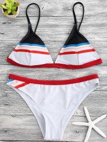 Striped Spaghetti Straps Padded Bikini Set