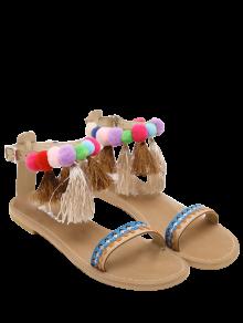 Ankle Strap Pompon Tassels Sandals - Apricot 40