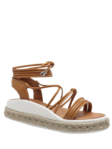 Tie Up Espadrilles Faux Leather Sandals - Light Brown 37