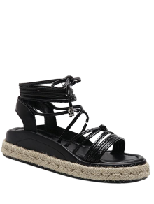 Tie Up Espadrilles Faux Leather Sandals - Black 38
