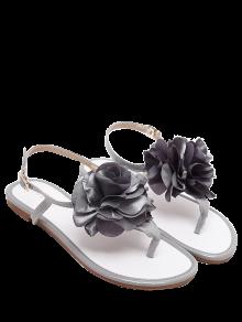 Patent Leather Flower Flat Heel Sandals - Gray