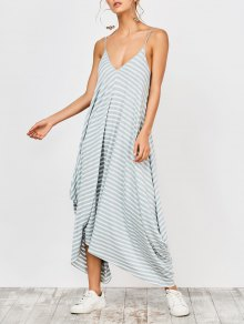 Asymmetrical Striped Casual Dress