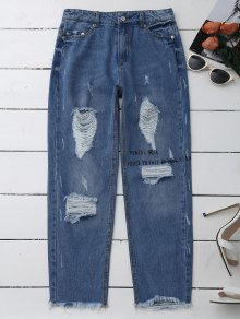 Distressed Graphic Boyfriend Jeans - Denim Blue S