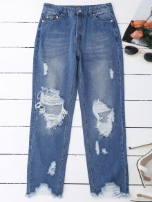 Distressed Raw Hem Jeans - Denim Blue