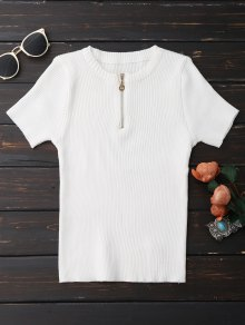 Half Zipper Short Sleeve Knit Top