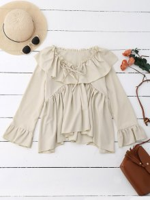 Ruffle Tie Neck Flare Sleeve Oversized Blouse