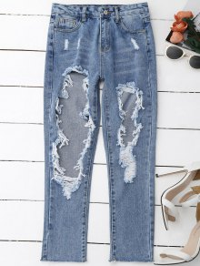 Distressed Frayed Jeans - Denim Blue S
