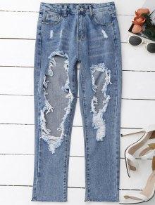 Pantalons Déchirés Affligés - Denim Bleu