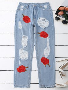 Flower Embroidered Ripped Jeans - Denim Blue Xl