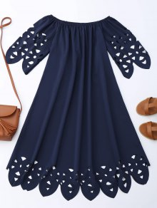 Off The Shoulder Flared Dress - Purplish Blue