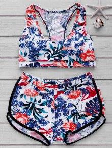 Printed Crop Top And Boyshorts Bikini - Floral S