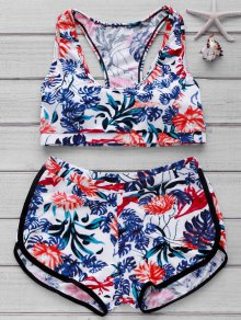 Printed Crop Top And Boyshorts Bikini - Floral L