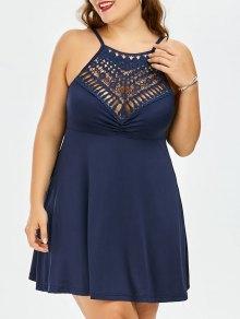Vestido De Talla Grande De Encaje De Imperio Cintura Slip - Azul Purpúreo Xl