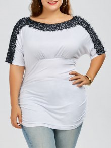 Plus Size Lace Trim Ruched T-Shirt - White 5xl
