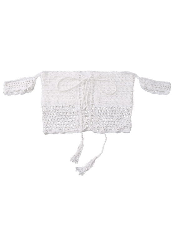 Knitted Off The Shoulder Bikini Bra - WHITE ONE SIZE Mobile