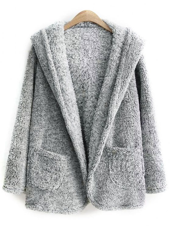 womens Hooded Fleece Coat - GRAY ONE SIZE