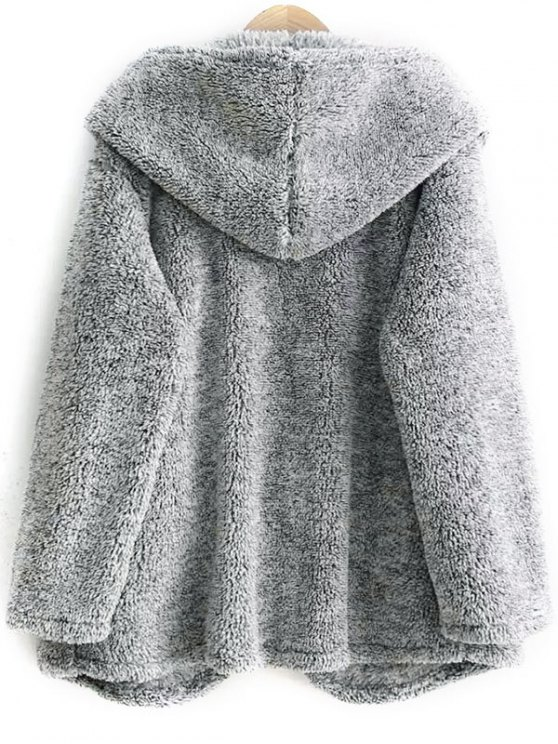Hooded Fleece Coat - GRAY ONE SIZE Mobile