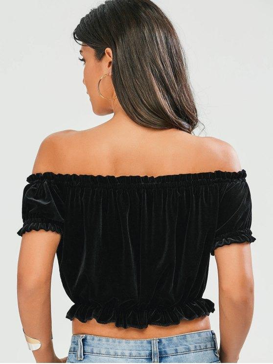 Ruffles Off The Shoulder Velvet Top - BLACK S Mobile