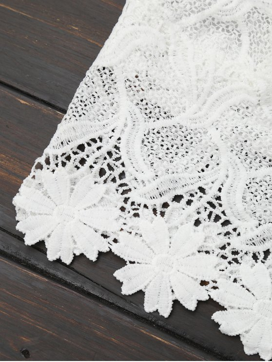 Lace Scalloped Crop Top - WHITE ONE SIZE Mobile
