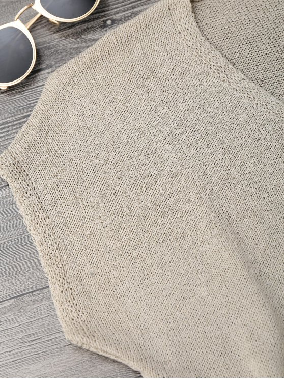 Dolman Open Knit Beach Cover Up Dress - KHAKI ONE SIZE Mobile