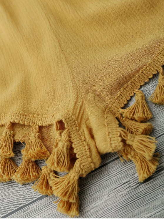 String Fringed Romper - YELLOW M Mobile