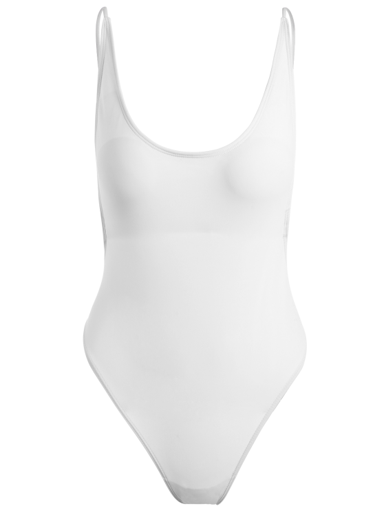 Monokini High Cut Backless One-Piece Swimwear - WHITE S Mobile