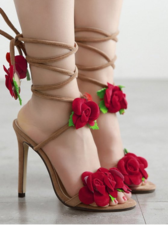 Rose Lace-Up Stiletto Heel Sandals - APRICOT 40 Mobile
