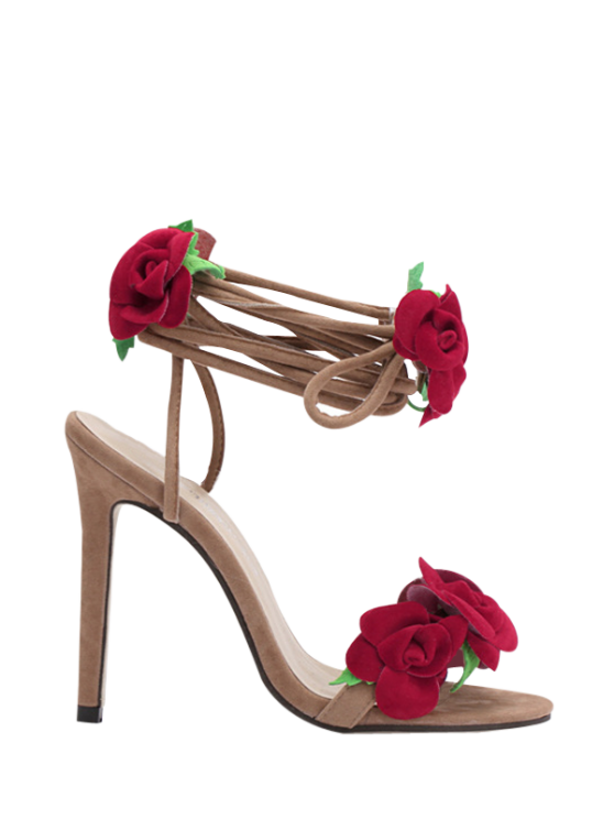 women Rose Lace-Up Stiletto Heel Sandals - APRICOT 35