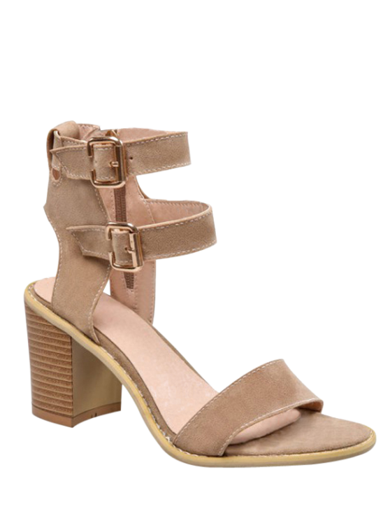 fancy Solid Color Double Buckles Chunky Heel Sandals - APRICOT 37