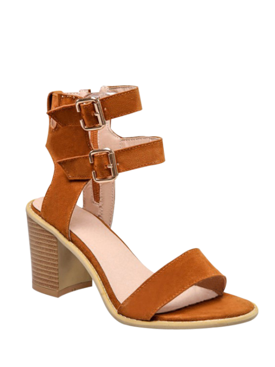 hot Solid Color Double Buckles Chunky Heel Sandals - BROWN 39