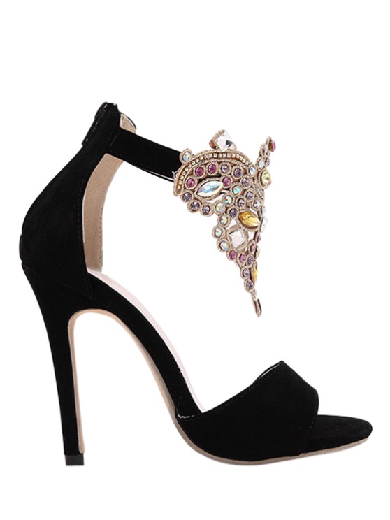 outfits Flock Stiletto Heel Colorful Rhinestone Sandals - BLACK 40