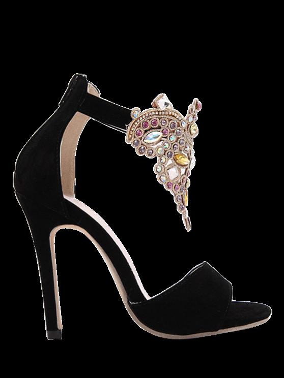 hot Flock Stiletto Heel Colorful Rhinestone Sandals - BLACK 38