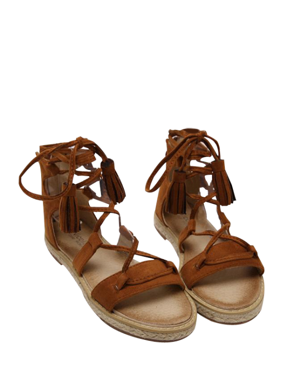 shops Tassels Lace Up Espadrilles Sandals - BROWN 38