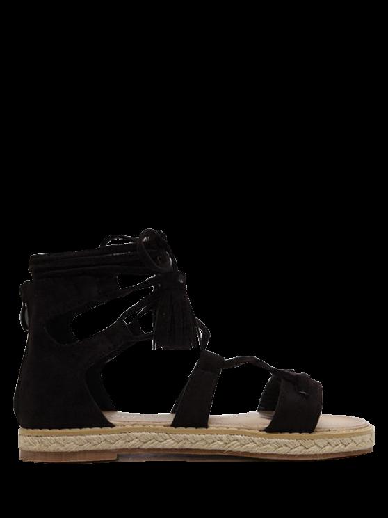 new Tassels Lace Up Espadrilles Sandals - BLACK 37