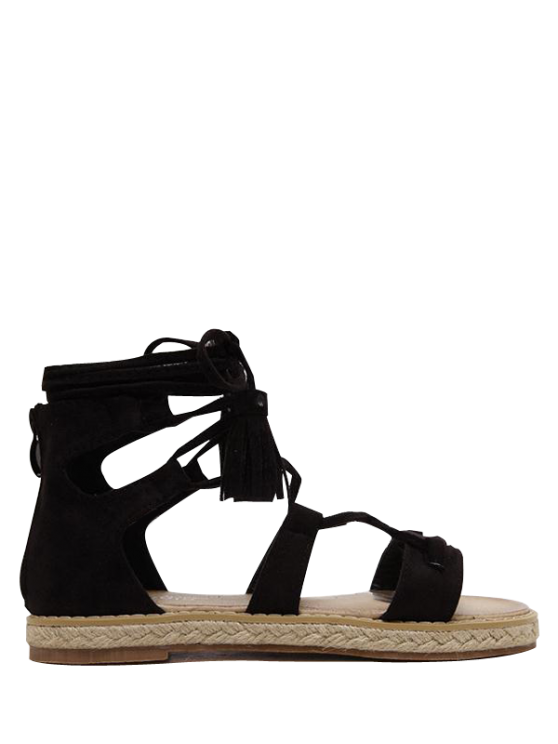 Tassels Lace Up Espadrilles Sandals - BLACK 38 Mobile