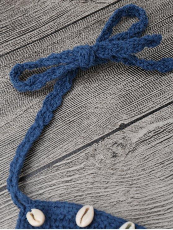 Beaded Seashell Embellished Crochet Bikini Set - ICE BLUE M Mobile