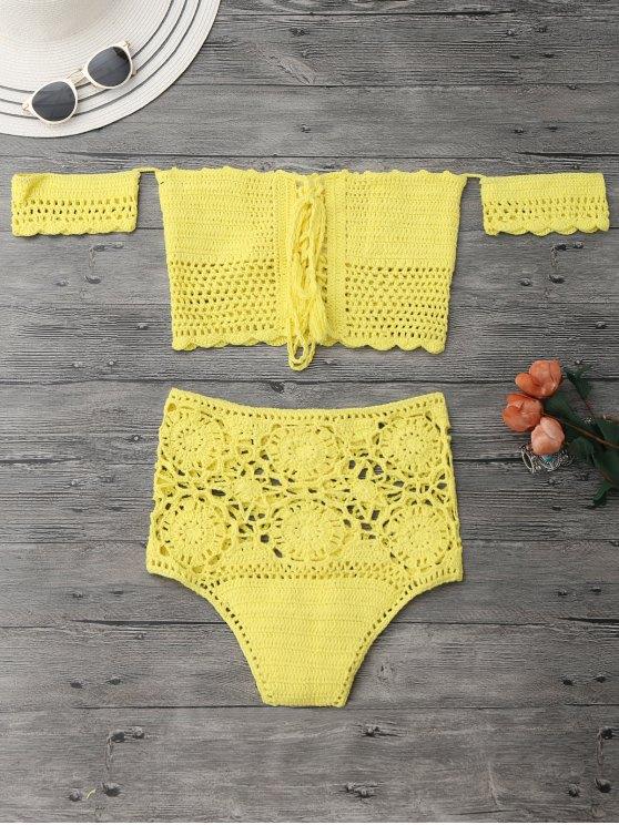 Bikini de ganchillo con cintura alta - Amarillo M