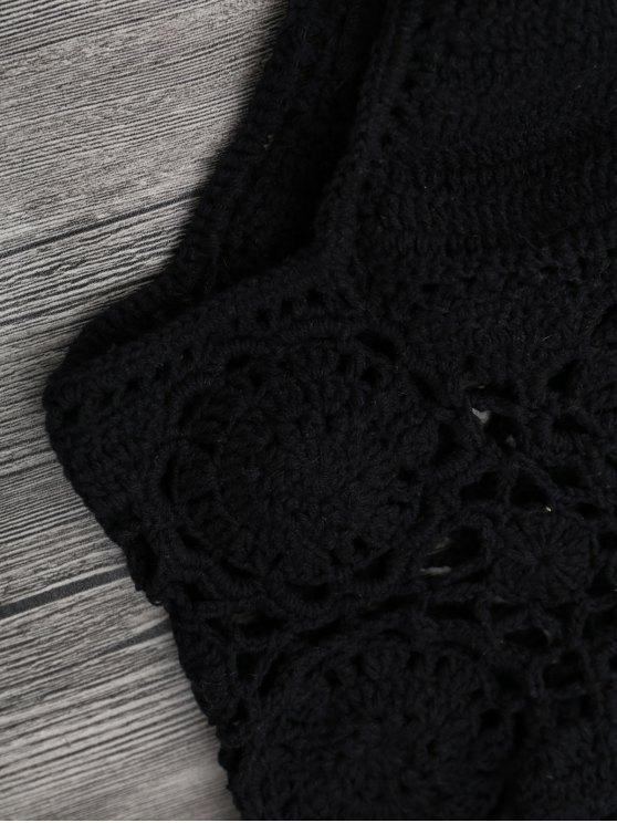 Off Shoulder High Waisted Crochet Bikini - BLACK S Mobile