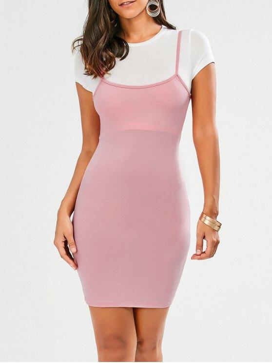 Faux Straps Color Block Vestido Bodycon - Rosa M