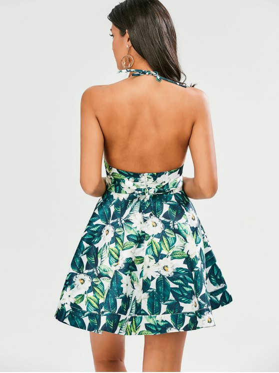 Tropical Print Backless Fit and Flare Dress - GREEN 2XL Mobile