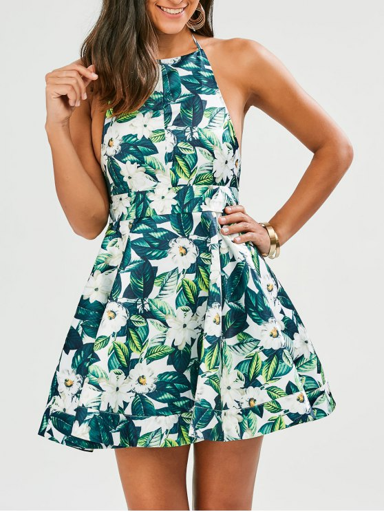 womens Tropical Print Backless Fit and Flare Dress - GREEN L