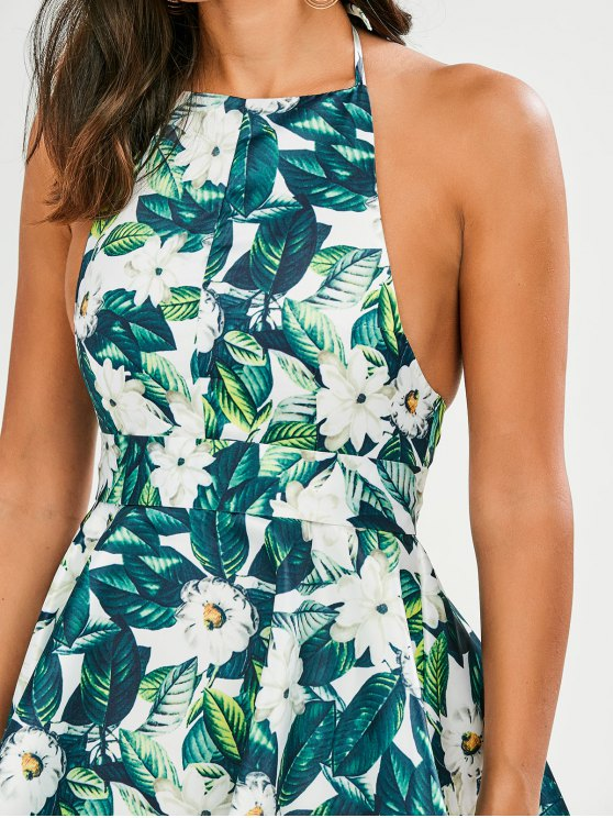 Tropical Print Backless Fit and Flare Dress - GREEN S Mobile