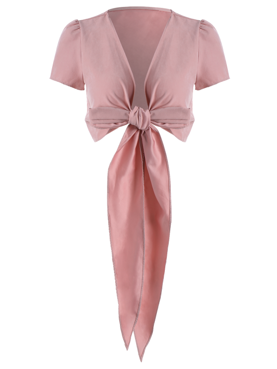 Cropped Wrap Top - PINK 2XL Mobile