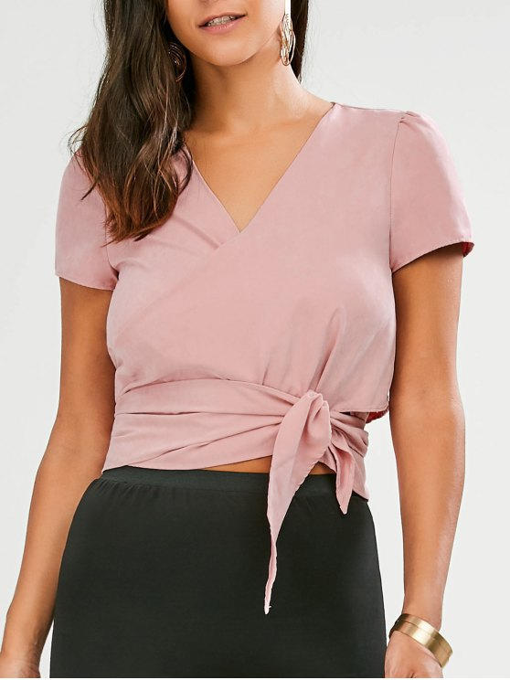 hot Cropped Wrap Top - PINK S