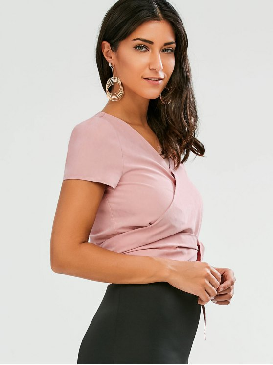 Cropped Wrap Top - PINK S Mobile